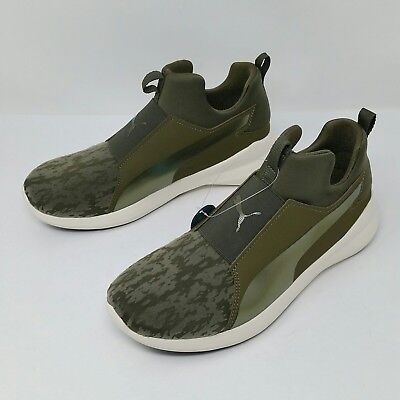 Puma Rebel Mid (Women s Size 8) Pull-on Athletic Sneaker Shoes Olive Green c9b3f2434