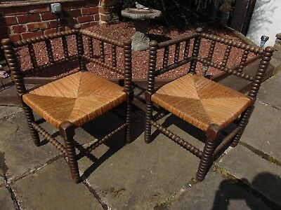 Matching Pair Antique French Arts And Crafts Oak Bobbin Turned Corner Chairs