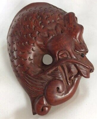 Hand Carved Hard Wood Japanese Netsuke Dragon Signed C Early/Mid 20Th Century