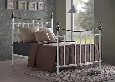 Elizabeth White Metal Bed Frame Victorian Style Brass 4FT6 Double 5FT King Size