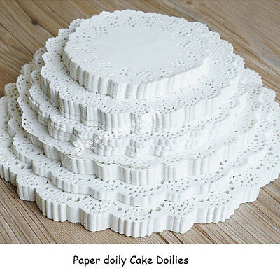 100pcs Hollow Lace Doyleys Doilies Paper Round Wedding Party Cake Catering Decor