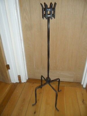 """Large Antique Black Wrought Iron Candle Holder 37"""" tall."""
