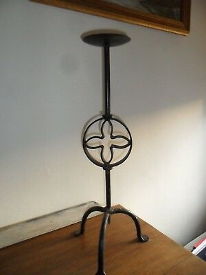 """Antique Black Wrought Iron Candle Holder. 19.75"""" tall. No. 2."""