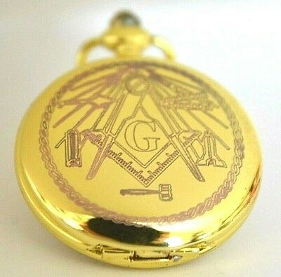 Masonic Gift Pocket Watch With Square & Compass Name & Lodge Number & Message