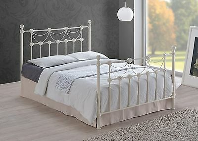 Omero Ivory Metal Bed Frame Traditional Style 4FT6 Double 5FT King Size