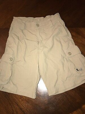 Under Armour Boys Youth Medium Khaki Cargo Shorts Loose Adjustable Waist