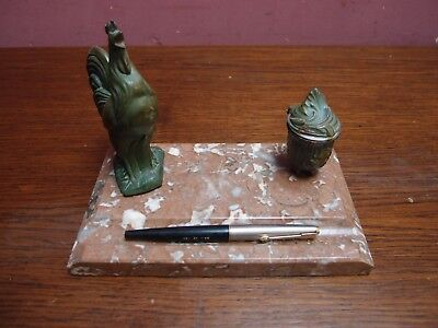 Antique Rouge Marble French Cockrell Inkwell And Pen Tray