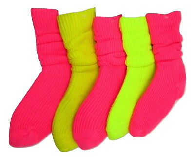 5 x New Ladies hot pink and yellow slouch socks ,aerobics fitness gym