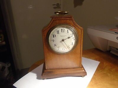 M.t.galloway Leeds Attractive Edwardian Inlaid Mahogany  Mantle Clock.