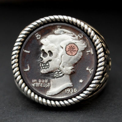 1936 Mercury Dime Hobo Nickel Style Skull Face Zombie Coin Sterling Silver Ring