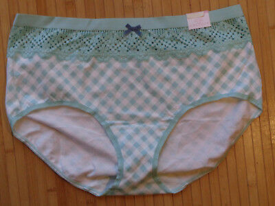 cdea3c0b3adb Cacique Cotton Full Brief With Lace Waist Panties In Green Lattice New