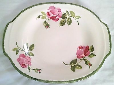 """French Saxon China Oval Serving Platter 13"""" Pink Roses Union Made USA Floral"""