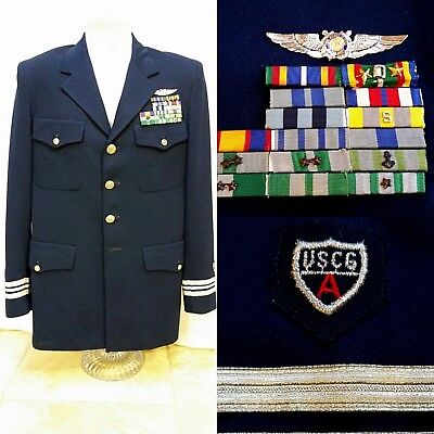 Vintage USCG US Coast Guard Auxiliary Uniform Navy Coat Jacket - Pins & Ribbons