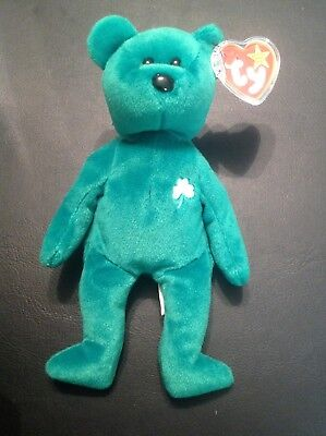 """Ty Beanie Baby Green Bear  """"Erin"""" 1997 New With Tags St. Patricks Day"""