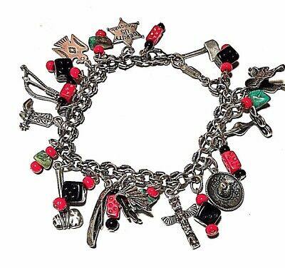 Southwestern Native, Tribal 925 Charm bracelet with natural Gemstones.