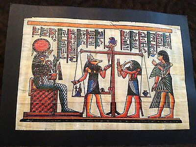 The Judgment Day Painting Signed Egyptian Handmade Papyrus on Ancient Plant.