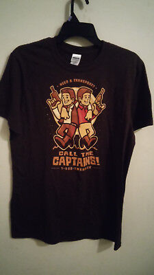 3a80d4202 Teefury Call the Captains! Firefly / Star Wars Brown T-Shirt Short Sleeve  Large
