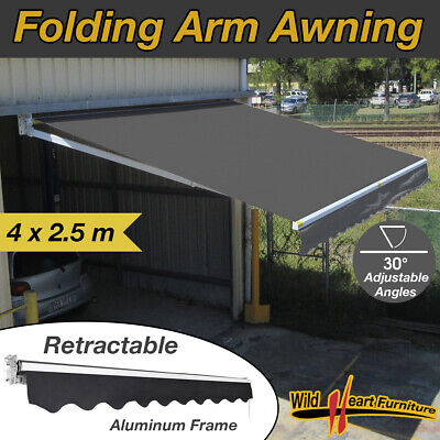 4x2.5M Folding Arm Awning Retractable Outdoor Sunshade Canopy Grey