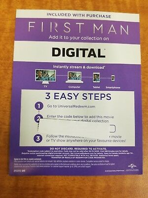 First Man 2018 4K UHD Digital Code ONLY Ryan Gosling Claire Foy Pablo Schreiber