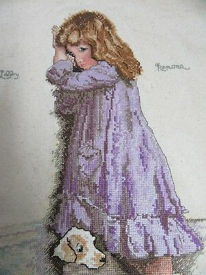 Finished Cross Stitch Little Girl with Dog Pouting Completed 11x14