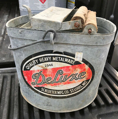 Vintage Deluxe Galvanized Metal Bucket with Wood Rollers - Excellent Condition