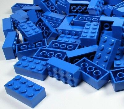LEGO BRICKS 25 x BLUE 2x4 Pin -  From Brand New Sets sent in a Sealed Clear Bag