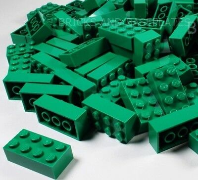 LEGO BRICKS 25 x GREEN 2x4 Pin -  From Brand New Sets sent in a Sealed Clear Bag