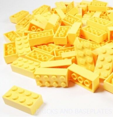 LEGO BRICKS 25 x YELLOW 2x4 Pin - From Brand New Sets sent in a Sealed Clear Bag