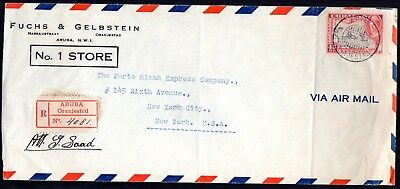 Aruba: 1946 Reg. Airmail cover to USA from Oranjestaad
