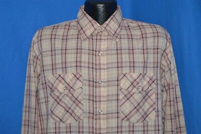 vintage 80s MOVING UP RED PINK PLAID MEN'S BUTTON DOWN DRESS SHIRT LARGE L