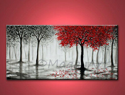 """original abstract painting, """"Red Tree"""" , black white red,Made to Order"""