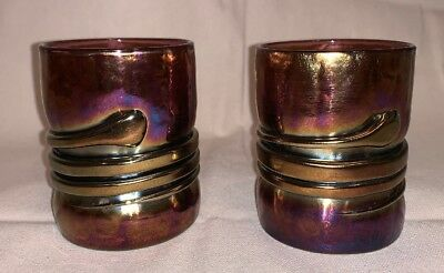 Pr Signed Handblown Art Glass Tumblers Glasses Iridescent Artist Esteban Prieto