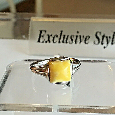 Genuine Russian Vintage Baltic Amber Ring Size 6,5 Butterscotch Egg Yolk Polish
