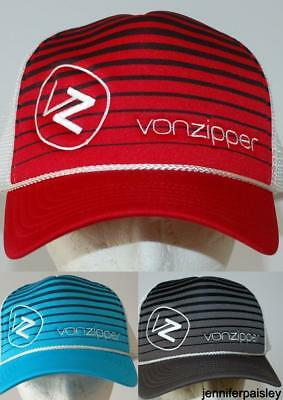 VON ZIPPER CAP NEW Unisex MENS MOBY LINES TRUCKER RED CHARCOAL POOL SURF  SKATE 11bfcd64d115