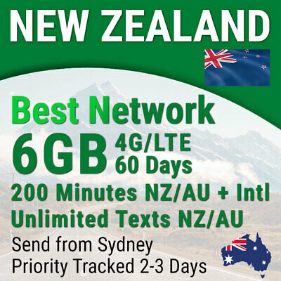 New Zealand SIM Card, 6 GB, NZ to AUS & INTL 200 Mins & 200 Text, Travel Prepaid