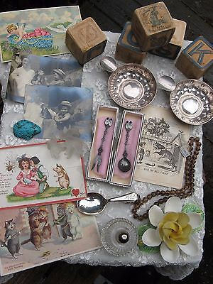 Big antique mixed lot~post cards~photos~lighter~sterling baby spoon~turquoise++