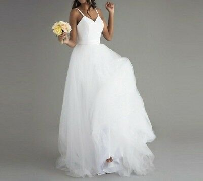 Wedding Dress For Beach Ceremony Straps Top Simple Lace Tulle Classic Bride Gown