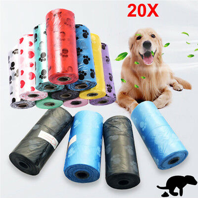 20x Rolls Portable 400 Dog Pet Waste Poop Poo Refill Core Pick Up Clean-Up Bags