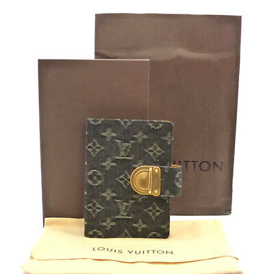 Authentic LOUIS VUITTON Agenda PM Day Planner Cover Noir Denim R21038 #S212102