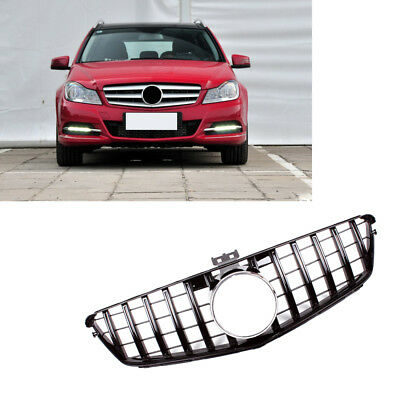 For Benz C Class W204 C200 C300 C350 07-13 Front Grill Grille GT R Style Black