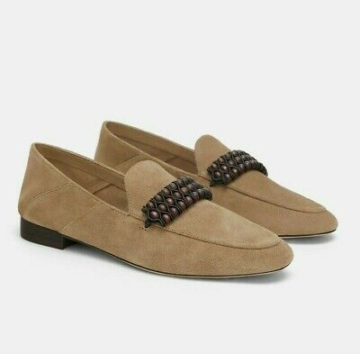 c7f89d39a554a ZARA WOMAN LEATHER Loafers With Detail Flat Shoes Sand Black 5541/301 New