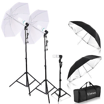 "Photography Studio Continuous Lighting Kit 4x33"" Umbrella 3x Light Stand US Plug"