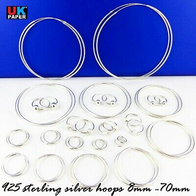 925 Sterling Silver Hoop Earrings Mm Cz Small Large Nose Stud Clip Set Ball Ring