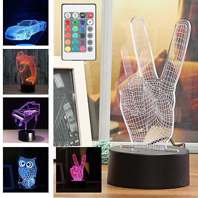 Touch 7 Color LED Lamp Base For 3D Illusion Acrylic Light Panels Remote AHS