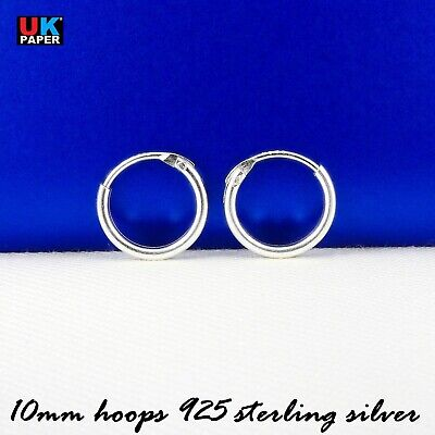 925 Sterling Silver 10mm Small Tiny Hoop Sleeper Earrings Studs Nose Rings Pairs