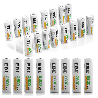 EBL Lot 2800mAh AA Rechargeable Batteries NI-MH Battery For Camera Flashlight US