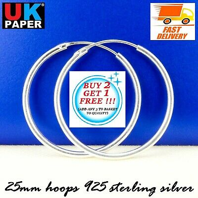 25mm Solid 925 Sterling Silver Hoop Sleeper Earrings Nose Ring On Clip Stud Pair