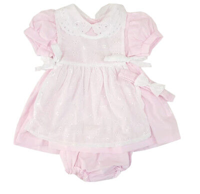 Baby Girls Spanish Style Romany Dress Headband & Broderie Anglaise Apron Outfit