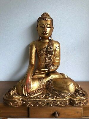 "Antique 23"" Wooden Buddha Statue Wood Carved Buddha gilded glass mosaics"