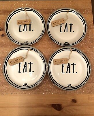 RARE! Rae Dunn EAT. Glass Collection Small Silver Plates Set of 4 LL VHTF